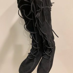 Minnetonka moccasins, Front Lace Knee High Boots
